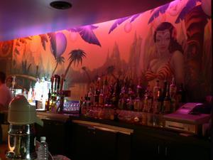 Mural behind the bar at Martini Monkey in San Jose