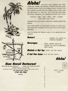 Back side of a large postcard from Kono Hawaii in Santa Ana