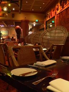 Seating in the bar at Trader Vic's in San Francisco