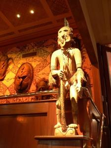 Warrior and masks at Trader Vic's in San Francisco