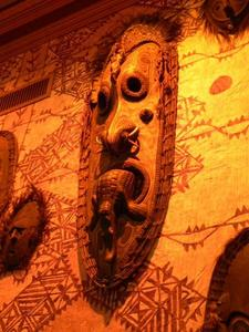 Tiki mask at Trader Vic's in San Francisco