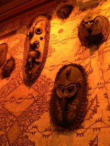 Tiki masks at Trader Vic's in San Francisco