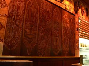 Carved plaque at Trader Vic's in San Francisco