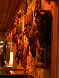 Wall of tiki masks at Trader Vic's in San Francisco