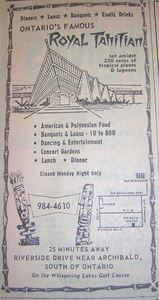 Phone book ad for Royal Tahitian in Ontario, from the San Bernardino Public Library