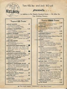 First page of drink menu from Kelbo's in Los Angeles