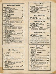Second page of drink menu from Kelbo's in Los Angeles