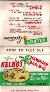 Matchbook from Kelbo's in Los Angeles