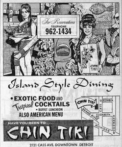 Ad for Chin Tiki in Detroit