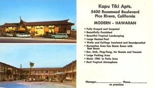Advertising card from the opening of the Kapu Tiki Apartments in Pico Rivera
