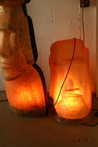 Moai lamps at Mai Tiki Gallery in Cocoa Beach