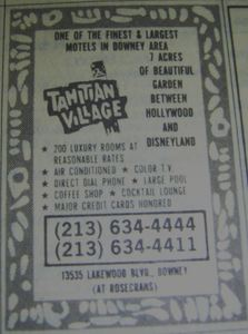 Phone book ad for Tahitian Village in Downey, from the Newport Beach Public Library