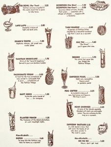 Interior of a small souvenir menu from the Tahitian Village shows a selection of drinks