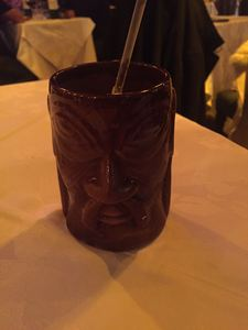 Drink served in a tiki mug at Bali-Hai in Santiago