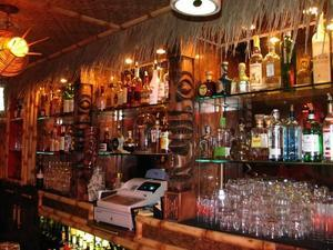 The bar at the Lucky Tiki