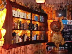 Mug shelf at the Lucky Tiki