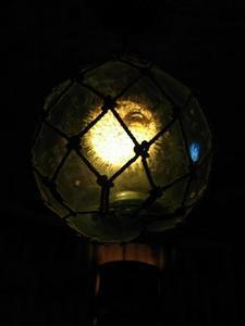 Pufferfish float lamp at the Lucky Tiki