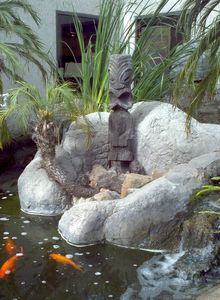 Tiki and koi pond in the central courtyard at Fry's Electronics in Manhattan Beach