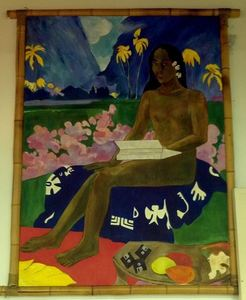 Gaugin-inspired painting of wahine using early-'90s era tech, at Fry's Electronics in Manhattan Beach