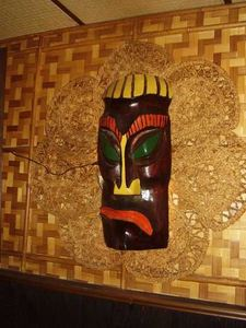 Tiki mask at Chef Shangri-La in North Riverside