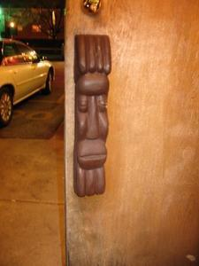 Tiki on door at Chef Shangri-La