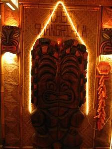 Witco tiki at entrance at Chef Shangri-La