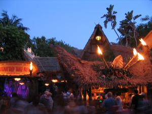 Nighttime  at The Enchanted Tiki Room in Anaheim