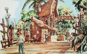 Artist's rendering of the entrance to Adventureland, site of The Enchanted Tiki Room in Anaheim