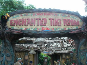 Sign at the entrance to The Enchanted Tiki Room in Anaheim