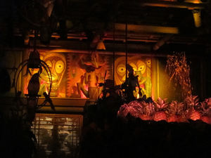 Drumming tikis at The Enchanted Tiki Room in Anaheim
