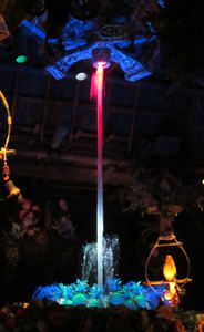 The fountain at The Enchanted Tiki Room in Anaheim