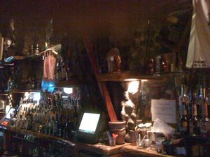 Behind the bar at Tiki Lounge in Pittsburgh
