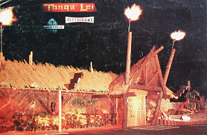 Detail from jumbo postcard showing the exterior of Tonga Lei in Malibu