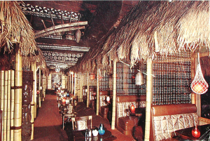 Detail from jumbo postcard showing interior of Tonga Lei in Malibu