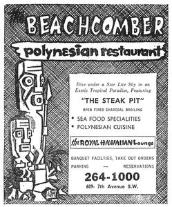 Early '70s phonebook ad for The Beachcomber in Calgary