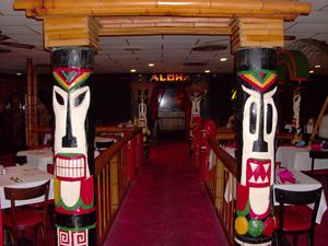 Tikis at the entrance to the dining room at Fiji Island in Roanoke