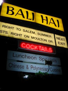 Sign at night for Bali Hai in Lynnfield