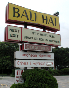 Sign for the Bali Hai in Lynnfield