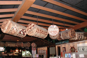 Tapa cloth lights at Bali Hai in Lynnfield
