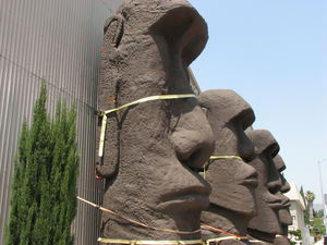 Secured moai at C. P. Three Prop House in Los Angeles