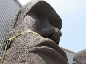 Close-up of a moai at C. P. Three Prop House in Los Angeles