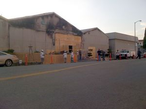 The aftermath of the fire at C. P. Three Prop House in Los Angeles