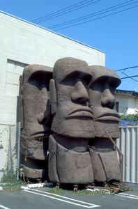 Giant moai in their new home at C. P. Two Prop House, moved from C. P. Three Prop House in Los Angeles