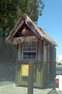 Ticket booth at Mission Tiki Drive-In in Montclair