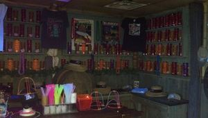 Gift shop selling shirts and tiki mugs at Mission Tiki Drive-In in Montclair