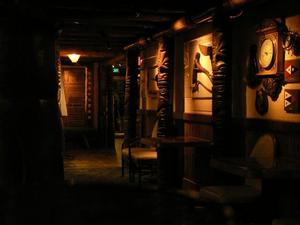 Tikis along a hall at Trader Vic's in Emeryville