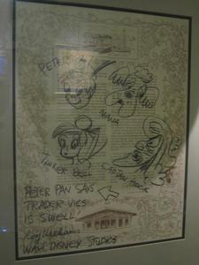 Menu signed by Disney's Roy Williams at Trader Vic's in Emeryville