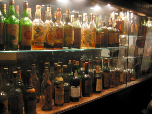 Cabinet of old liquor bottles at the Emeryville Trader Vic's