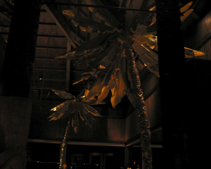 Stylized palm trees in the dining room at the Emeryville Trader Vic's