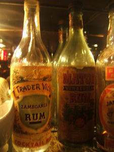 Old liquor bottles on display at Trader Vic's in Emeryville
